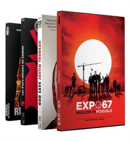Quatre films La Ruelle sur DVD: Expo 67 mission impossible, God Save Justin Trudeau, Les États-Désunis du Canada et Bombes à Retardement.