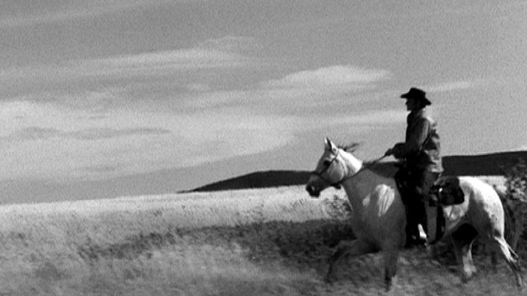 Banques d'archives riche et variée accessible pour tout type de projet. Ici, archive d'un cowboy dans une vaste prairie.